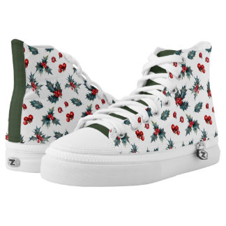 Holly Sprig Christmas High Top Sneakers