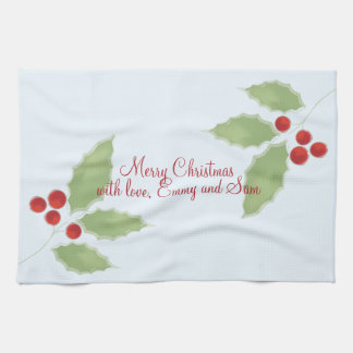 Holly Sprig Editable Kitchen Towel
