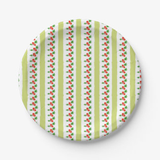 Holly Stripe Christmas Flora Paper Plates