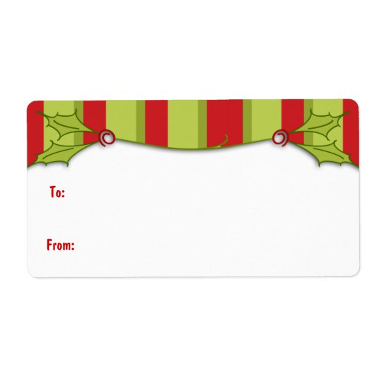 Holly Striped Gift Label