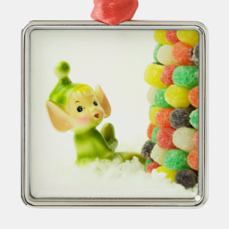 Holly the Pixie Elf Silver-Colored Square Decoration