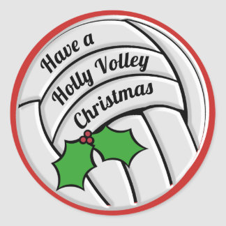 Holly Volley Christmas Volleyball Classic Round Sticker