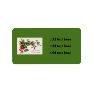 Holly Winterberry Red Ribbon Label