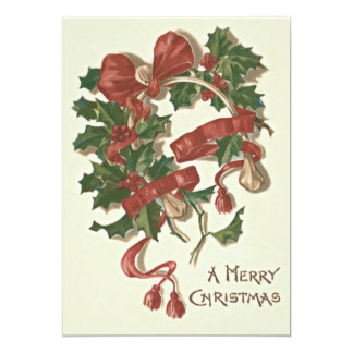 Holly Wishbone Red Ribbon Winterberry Card