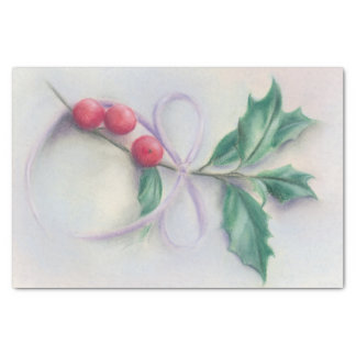 Holly with Bow Pastel Christmas Tissue Paper