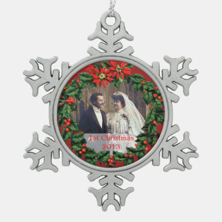 Holly Wreath 1st Christmas Together Ornament
