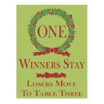 Holly Wreath Bunco Table Card #1 Postcard