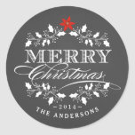 Holly Wreath Christmas Chalkboad Typography Label Round Sticker