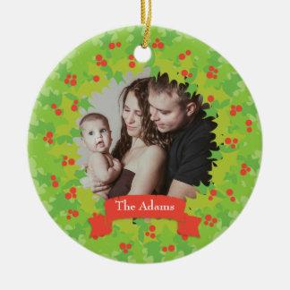 Holly Wreath Frame Holiday Photo Ornament