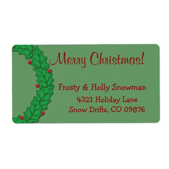 Holly Wreath Gift Shipping Labels