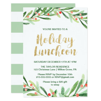 Holly Wreath Holiday Luncheon Card