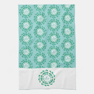 Holly Wreath Joy in Green and Blue Holiday Tea Towel