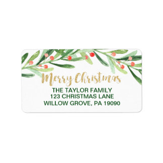 Holly Wreath Merry Christmas Address Label