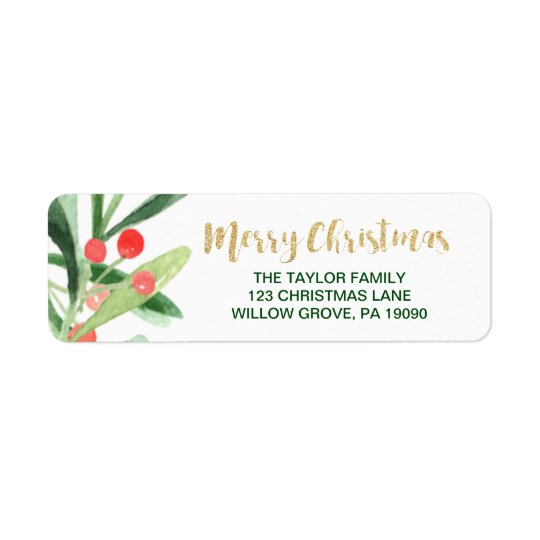 Holly Wreath Merry Christmas Return Address Label