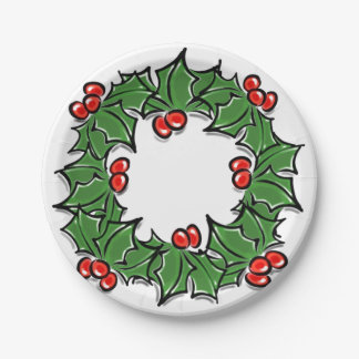 Holly wreath paper plate