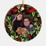 Holly Wreath Photo Personalised Ornament