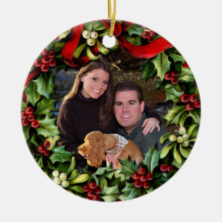 Holly Wreath Photo Personalized Ornament