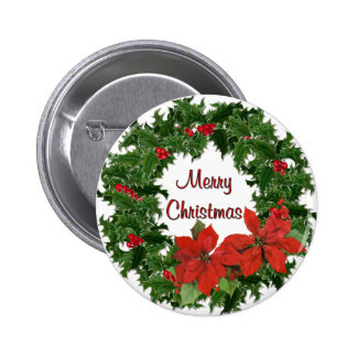 Holly Wreath Traditions 6 Cm Round Badge