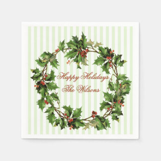 Holly Wreath Vintage Personalized Christmas Disposable Serviettes