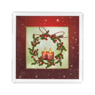 Holly wreath with Christmas candles Acrylic Tray