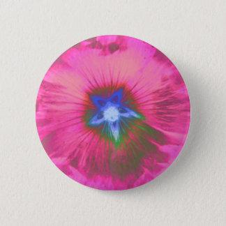 Hollyhcok Flower Pink Velvet Button