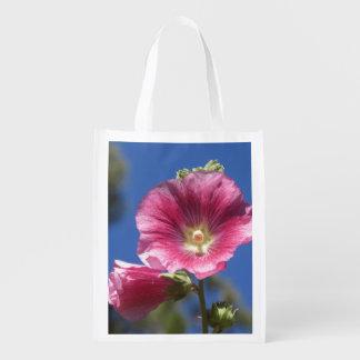 Hollyhock Blooms Reusable Grocery Bag