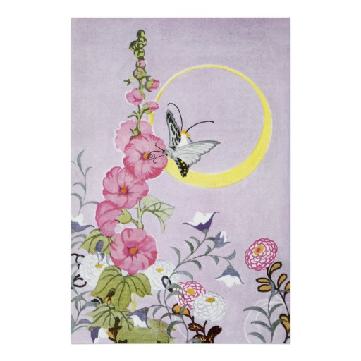Hollyhock, Dahlia and Balloon Flowers Print