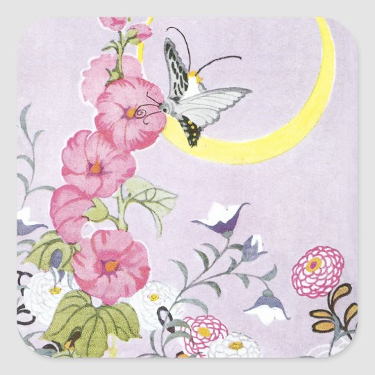 Hollyhock, Dahlia and Balloon Flowers Square Sticker