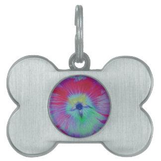 Hollyhock Flower Bright Lights Pet Tag