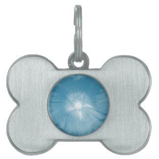 Hollyhock Flower Icy Blue Pet Tag