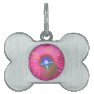 Hollyhock Flower Pink Velvet Pet Tag