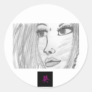 Hollyhock Love Designs Round Sticker