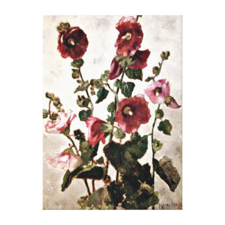 Hollyhocks - Max Weyl painting Canvas Print