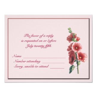 Hollyhocks Response Card 11 Cm X 14 Cm Invitation Card