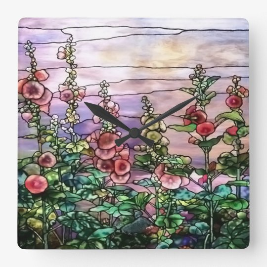 Hollyhocks Vintage Floral Tiffany Stained Glass Square Wall