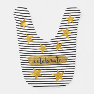 Hollywod Star Black White Stripes Gold Baby Bib