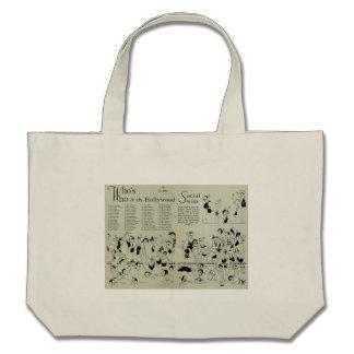 Hollywood 1928 caricatures beach bag