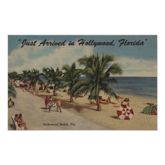 Hollywood Beach, Florida - View of Beach Poster
