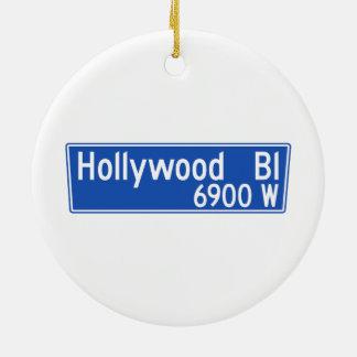 Hollywood Boulevard, Los Angeles, CA Street Sign Christmas Ornament