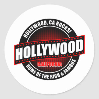 Hollywood, Ca. Rocks! Home Of The Rich & Famous Round Sticker