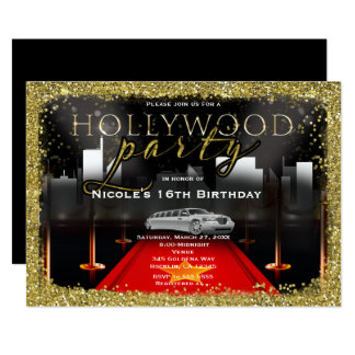 Hollywood & City Limo Red Carpet Party Invitations