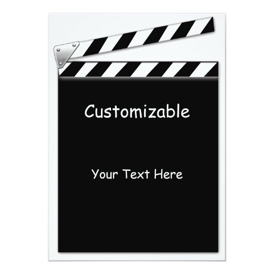 Hollywood Clapper Board Custom, Blank Back Card