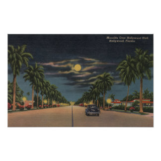 Hollywood, FL - Moonlight View over Hollywood Poster