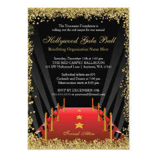 Hollywood Gala Ball Red Carpet Glitter 13 Cm X 18 Cm Invitation Card