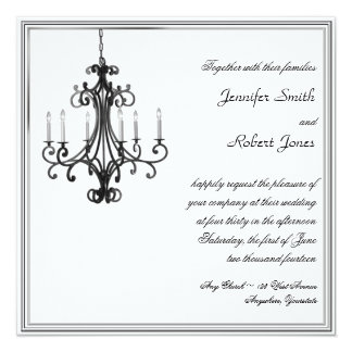 Hollywood Glamour Chandelier Wedding Invitation