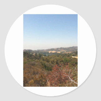 hollywood landscape classic round sticker