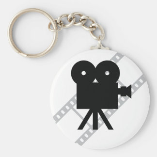 hollywood movie cine camera film basic round button key ring