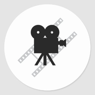 hollywood movie cine camera film classic round sticker