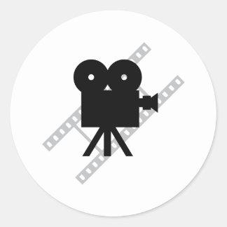 hollywood movie cine camera film round sticker