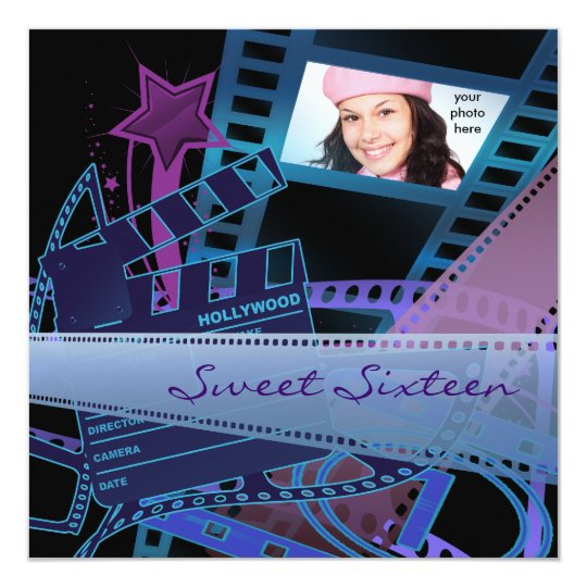 Hollywood Movie Star Sweet 16 Birthday Party Card